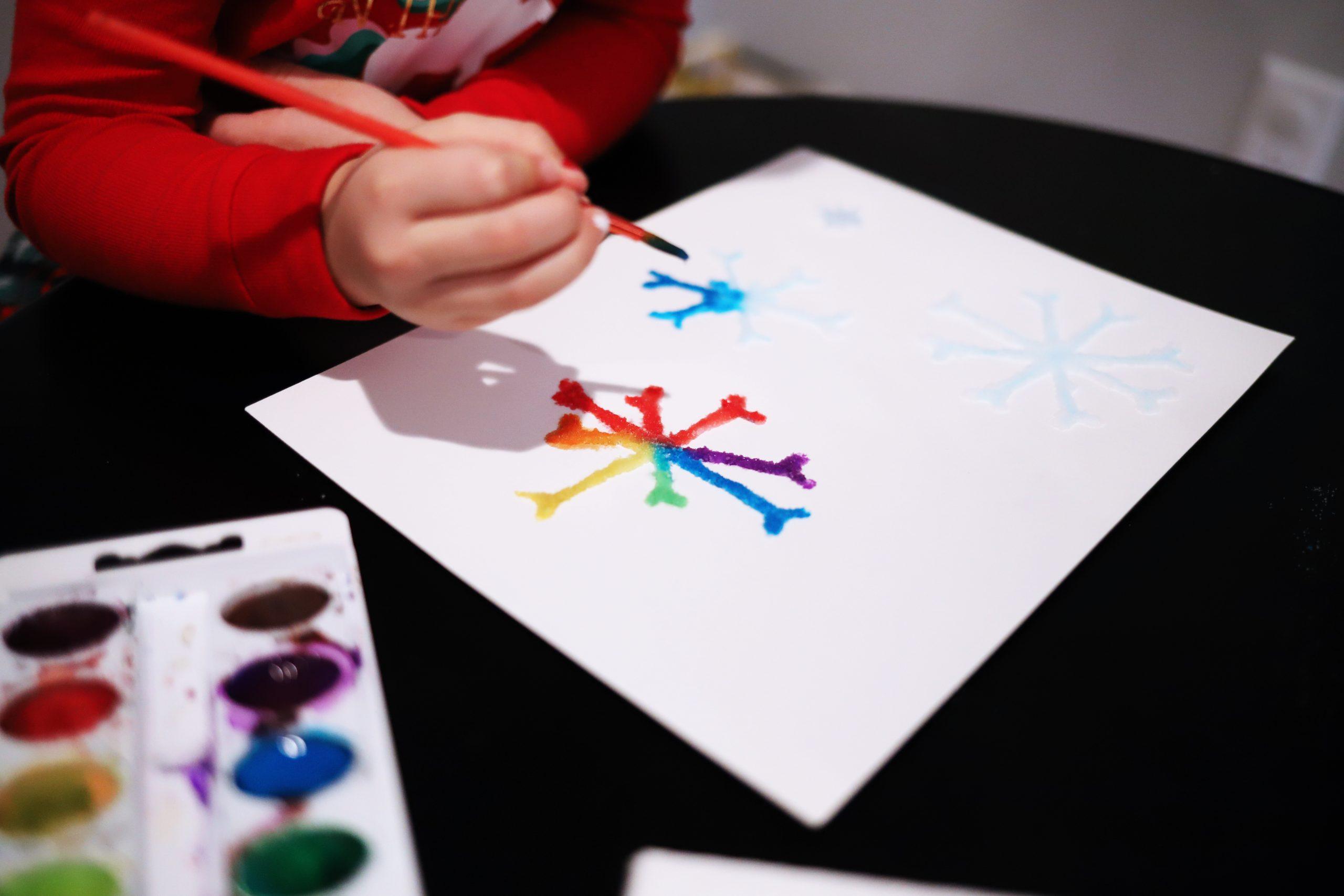 Salt Snowflake Painting